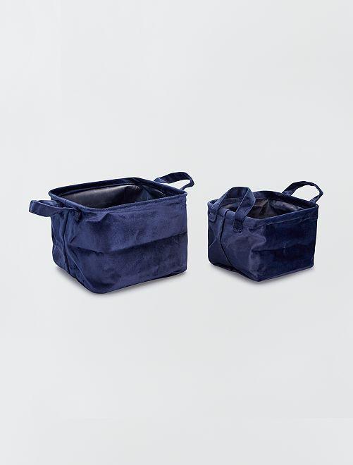 2 paniers carrés velours                                                     bleu