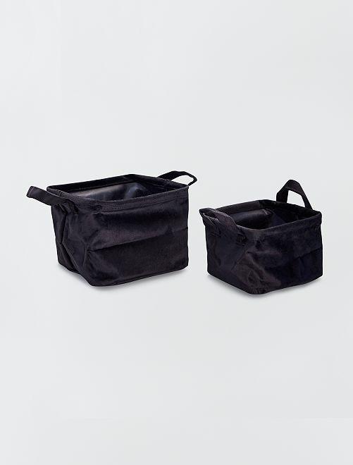 2 paniers carrés velours                                                     noir