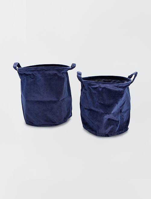 2 paniers ronds velours                                                                 bleu marine