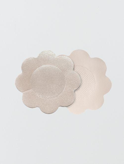 3 paires de cache-mamelons soie 'By Bra'                             beige