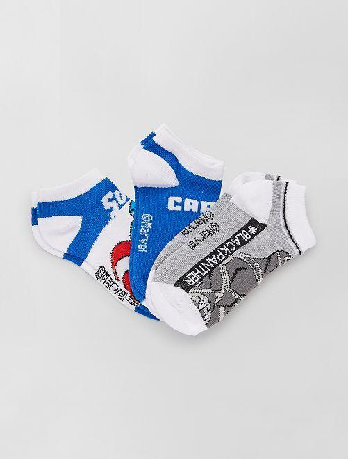3 paires de chaussettes 'Captain America' 'Marvel'                                         bleu/gris