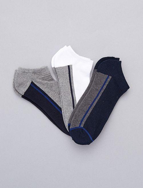 3 paires de chaussettes invisibles sport                                         bleu