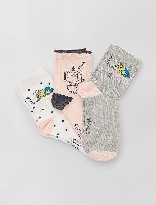 3 paires de chaussettes 'Minions'                             rose/blanc/gris