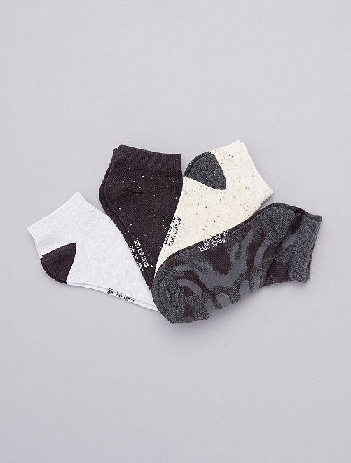 4 paires de chaussettes invisibles                                         gris/écru Fille