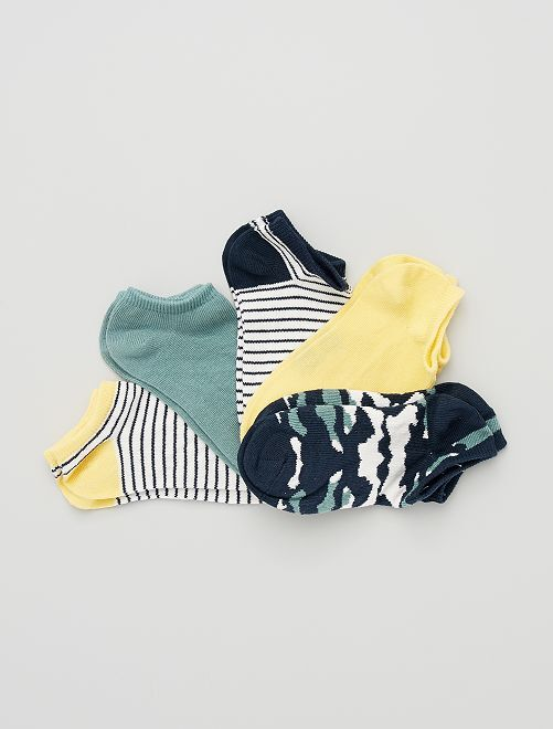 5 paires de chaussettes invisibles éco-conçues                                                                                                                             bleu