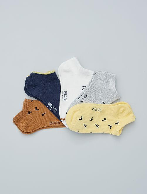 5 paires de chaussettes invisibles éco-conçues                                                                                                                             jaune
