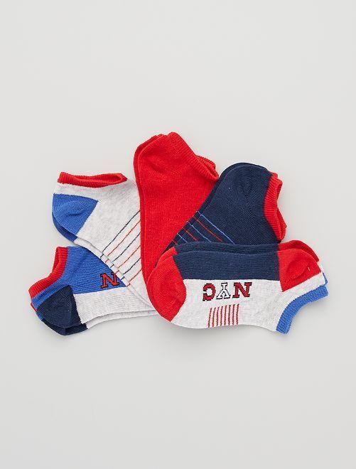5 paires de chaussettes invisibles éco-conçues                                                                                                                             rouge