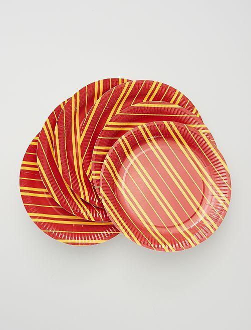 6 assiettes en carton                             rouge/jaune