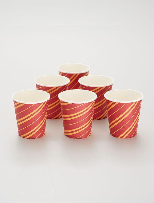 6 gobelets en carton                             rouge/jaune