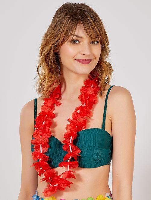 Accessoire collier hawaïen                                                                                         rouge