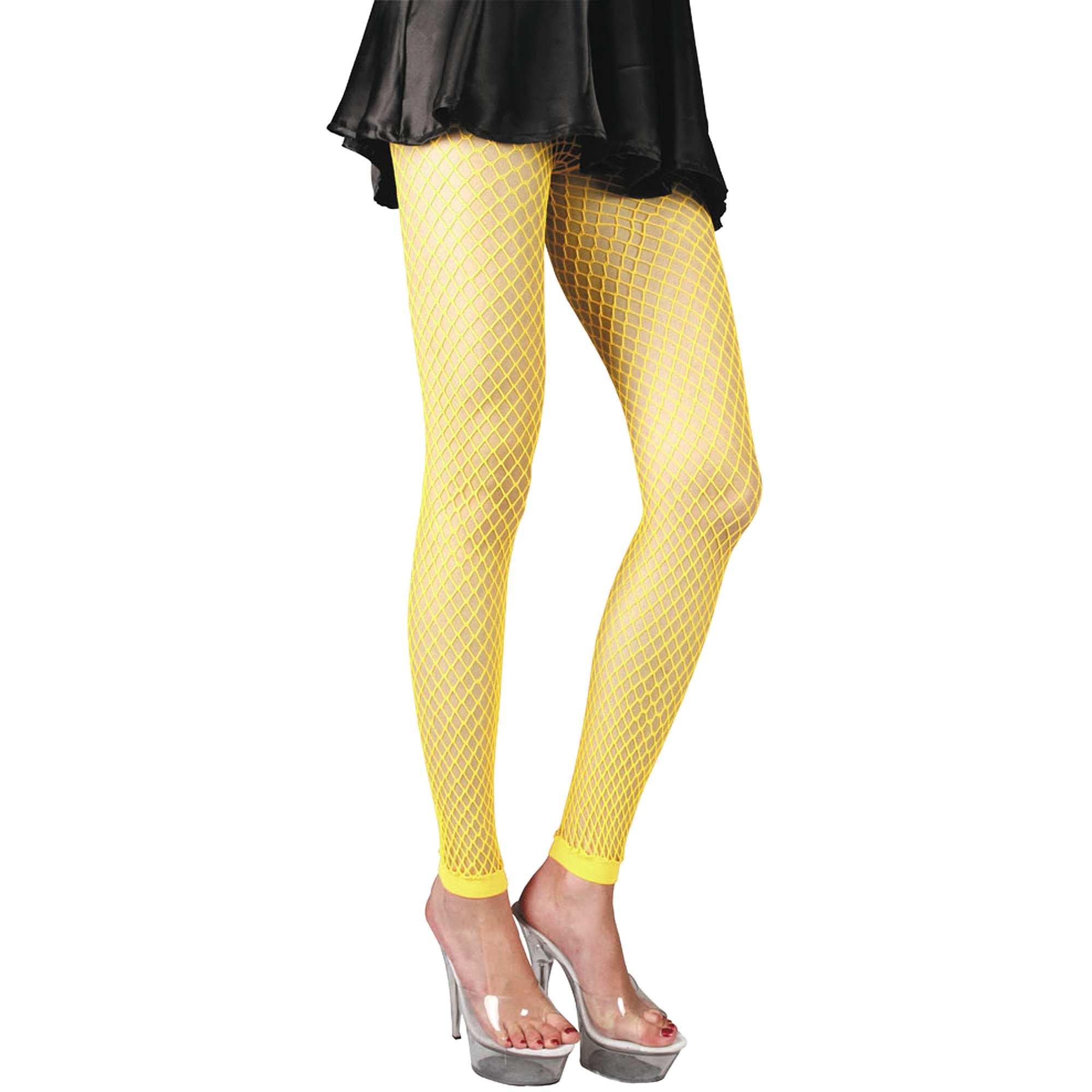 Couleur : rose fluo, vert fluo, bleu fluo,jaune fluo, - Taille : TU, , ,,Customisez votre déguisement avec la paire de legging résille fluo, une tenue originale