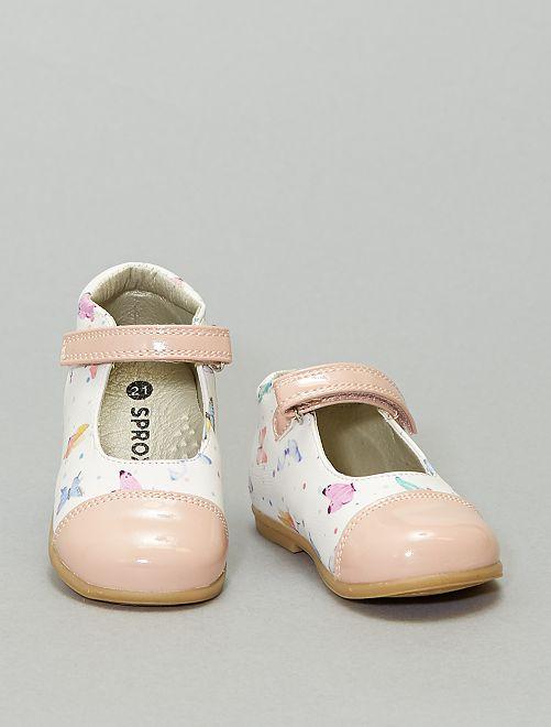 Babies montantes 'papillons'                             blanc rose
