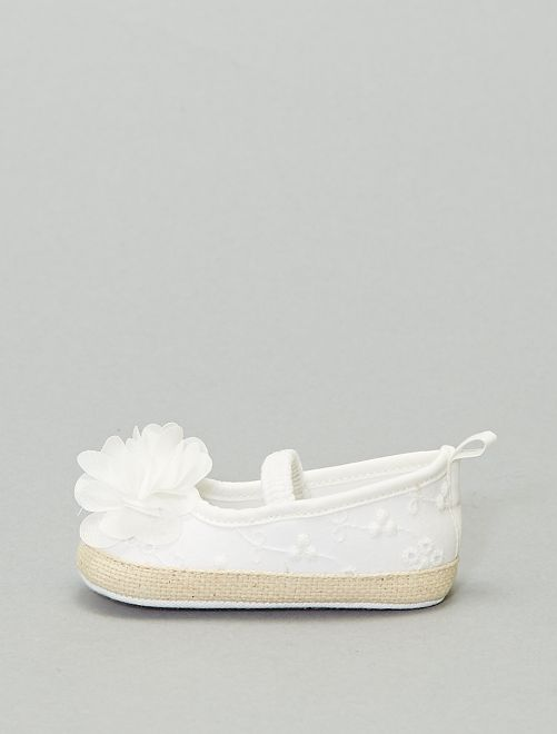 Ballerines à broderie anglaise                             blanc