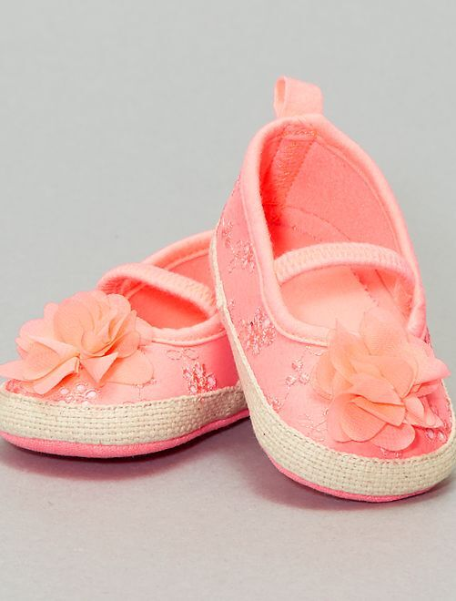 Ballerines à broderie anglaise                             ROSE