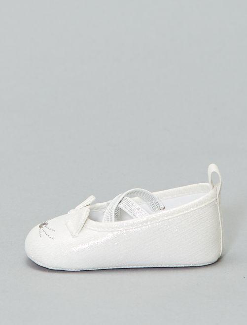 Ballerines brillantes 'tête de chat'                                         blanc argenté