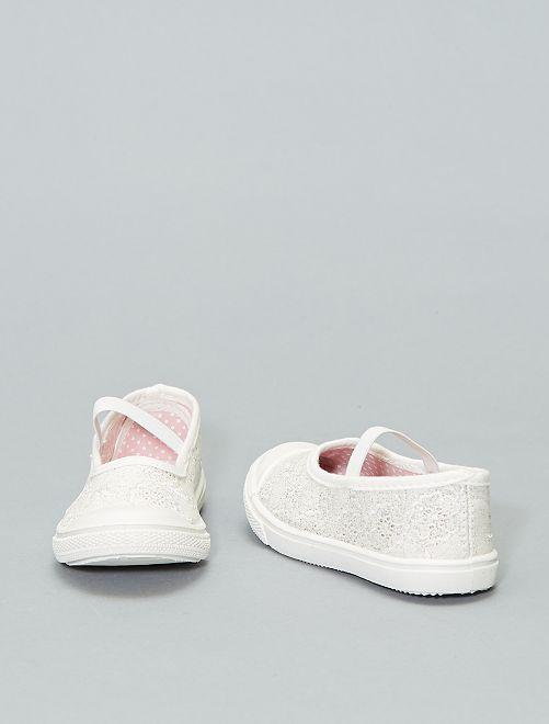 Ballerines en toile élastiquées                             blanc Chaussures
