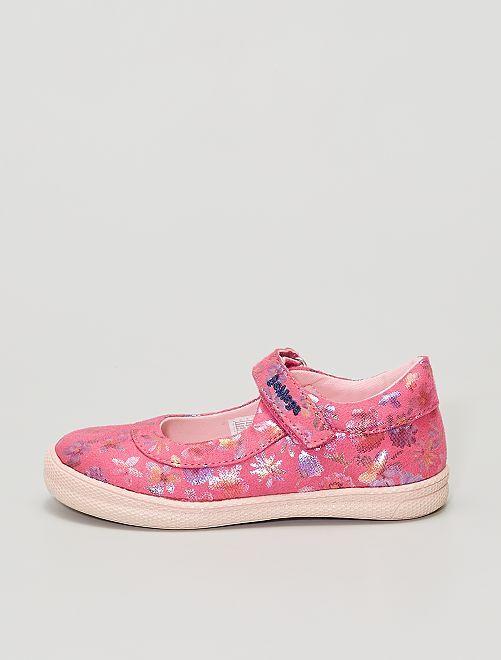 Ballerines en toile fleuries                             rose