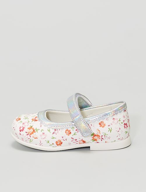 Ballerines fleuries                             blanc