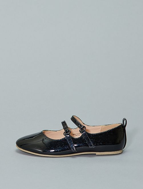 Ballerines vernies pailletées                             bleu navy