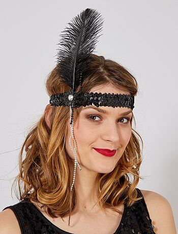 Bandeau Charleston plume et perles