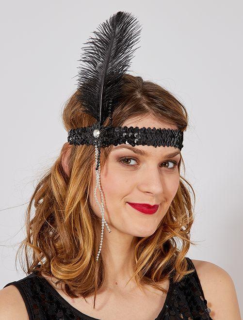 Bandeau Charleston plume et perles                              noir