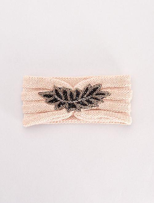 Bandeau en maille avec patch perles                             rose