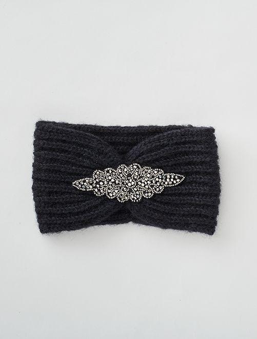Bandeau large avec bijoux                             noir