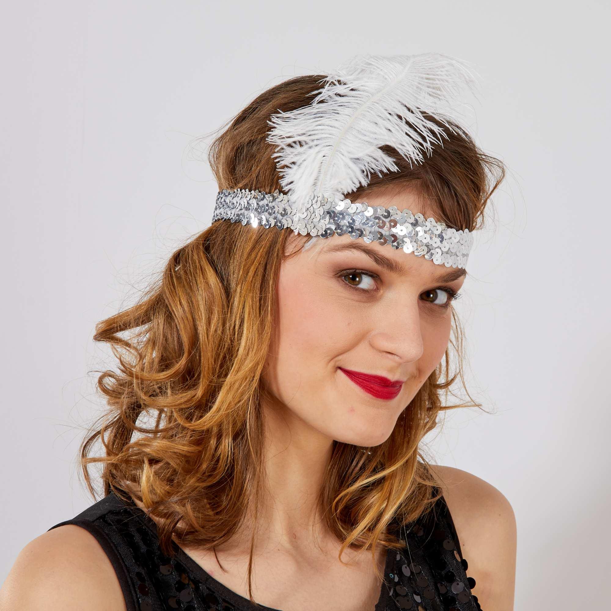 Couleur : argenté, rouge, fuchsia,, - Taille : TU, , ,,Un déguisement 'Charleston' ne saurait se passer du fameux bandeaux avec sa plume ! -