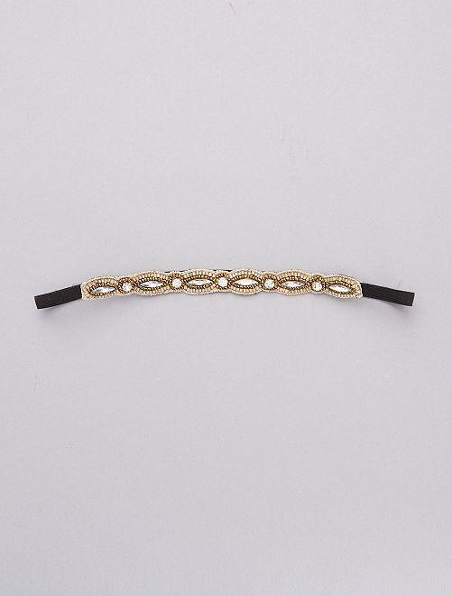 Bandeau strass et perles                             noir/doré
