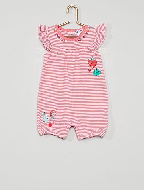Barboteuse en coton                             rose/blanc