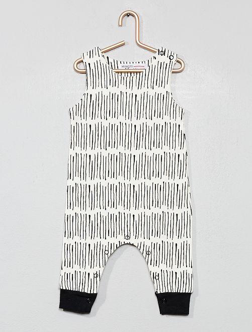 Barboteuse imprimée en coton bio                             beige/noir Bébé garçon