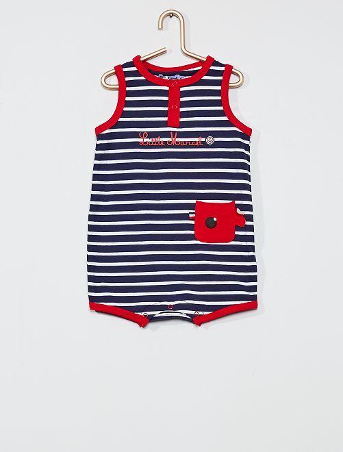 Barboteuse rayée 'Little Marcel'                     bleu/rouge