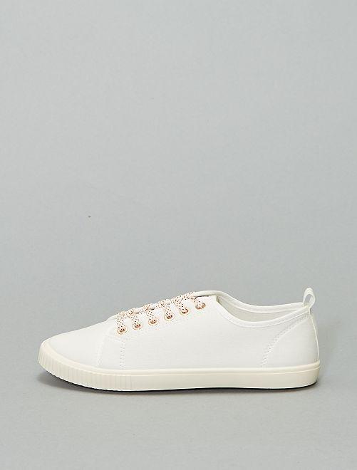 Baskets à lacets en toile                                                     blanc