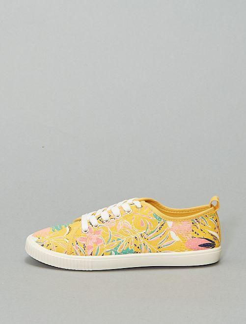 Baskets à lacets en toile imprimée 'fleurs'                                                     jaune fleurs