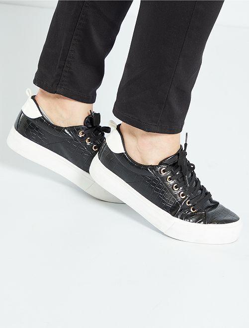 Baskets à lacets semelle épaisse                                         noir