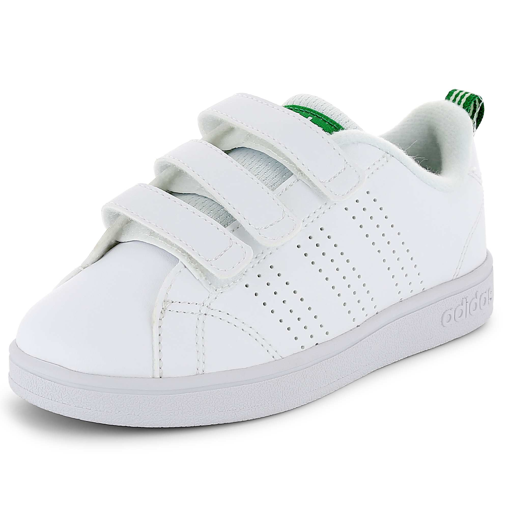new arrival 36a54 bd93e Baskets Adidas VS Advantage Clean à scratchs blancvert Garçon. Loading  zoom