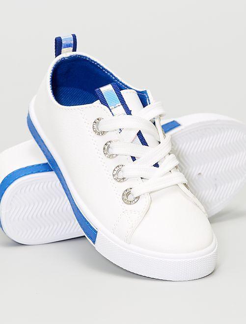 Baskets avec œillets à strass                             bleu
