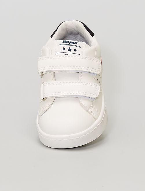 Baskets basses à scratchs                             blanc