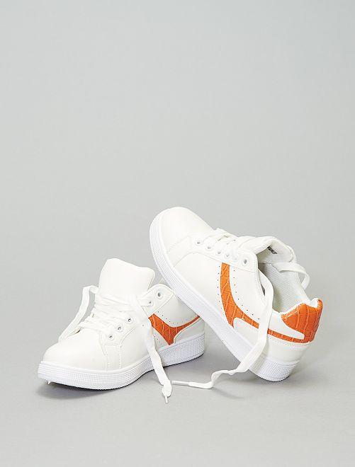 Baskets basses avec bandes contrastantes                             orange