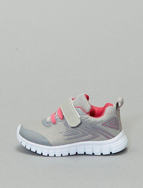 Baskets basses bicolores à scratch                             gris clair/rose