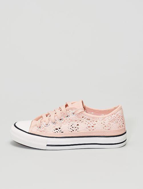 Baskets basses en dentelle et macramé                                                                 rose