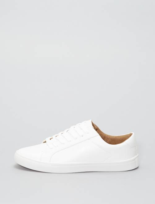 Baskets basses en simili                             blanc Homme