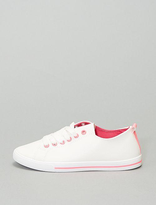 Baskets basses en simili                                         blanc/rose