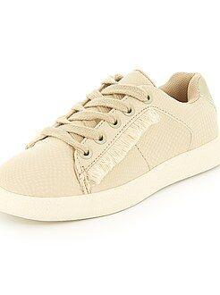 Chaussures fille - Baskets basses en simili imitation 'reptile' - Kiabi