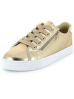 Chaussures fille - Baskets basses en simili métallisé