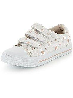 Chaussures fille - Baskets basses en toile à scratchs