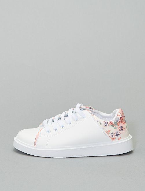 Baskets basses imprimé 'fleurs'                             blanc