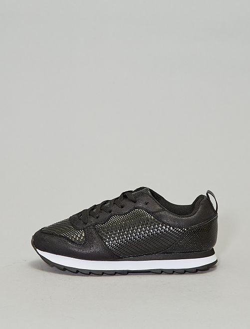 Baskets basses texturées                             noir