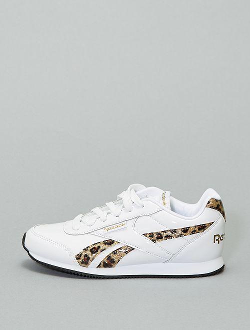 Baskets basses vernis détails léopard                             blanc