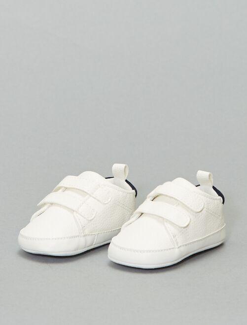 Baskets bicolores à scratchs                                         blanc